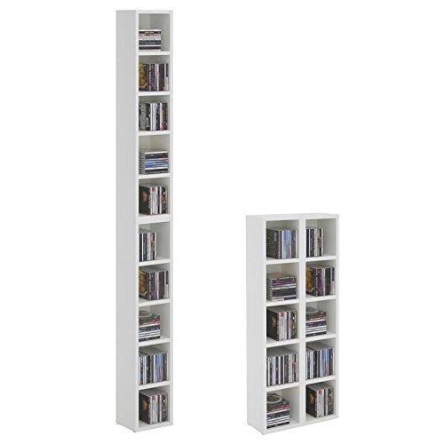 IDIMEX Etagères modulables Musique pour CD et DVD, Lot de 2 Meubles de Rangement en Colonne avec 10 Compartiments, en mélaminé Blanc Mat
