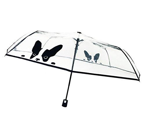 SMATI Paraguas Plegable Transparente con Perro automático antiviento Ultra Solido