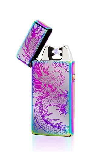 TESLA Lighter TESLA Lighter T05 Lichtbogen Feuerzeug, Plasma Single-Arc, elektronisch wiederaufladbar, aufladbar mit Strom per USB, ohne Gas und Benzin, mit Ladekabel, in edler Geschenkverpackung, Drache Schwarz Schwarz-drache