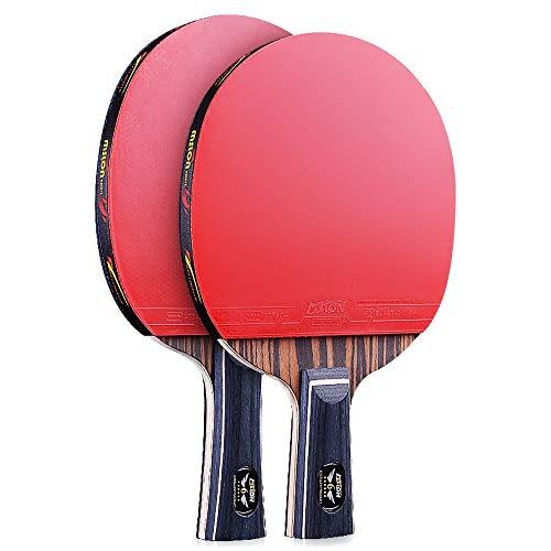 Lerten Raquetas de Tenis de Mesa,Juego de 6 Estrellas Bate de Tenis de Mesa Profesional Mango CóModo Perfecto para Actividades Familiares Y Clubes Deportivos/Como se muestra/A