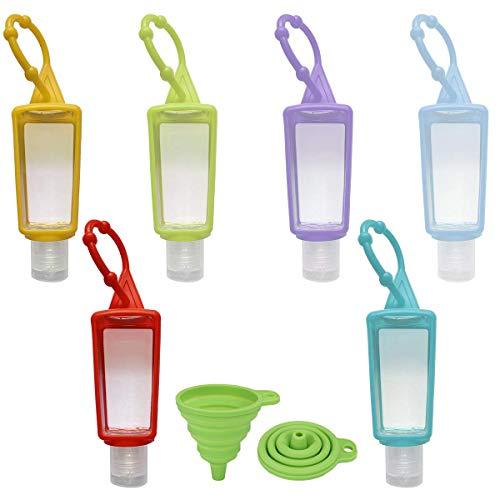 DARUNAXY 6 Stück Reiseflasche Set und 1 Trichter, 30ml Plastikflasche Transparente Kosmetikflascher Geeignet mit Silikonhülle für Kosmetik Camping Reisen Zubehör Shampoo Lotion