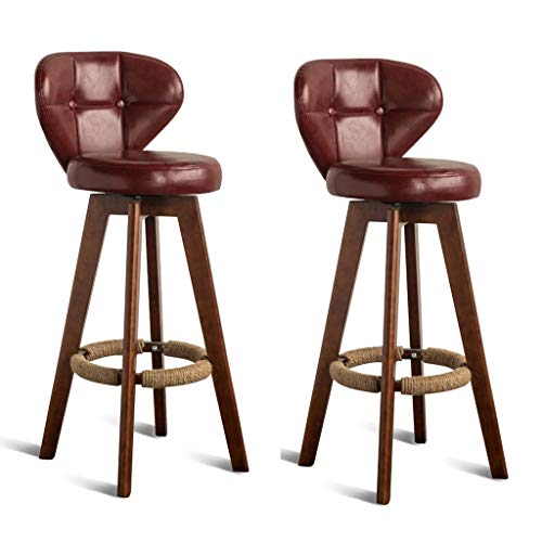Bar Stools CHY Swivel Set Of 2 With Backs, Outdoor Counter Height, Solid Wood, For Kitchen Indoor Home (Color : Dark red*2, Size : 84cm)