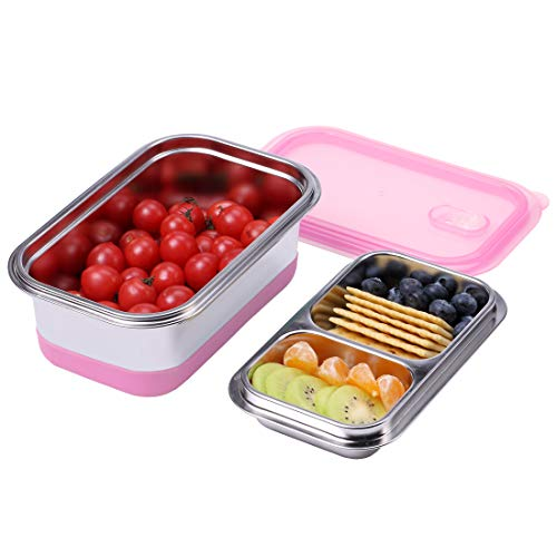 BonNoces Bento Box, SUS 304 18/8 Fine Stainless Steel 2 Layer Lunch Box, 1100 ML/34 OZ Food Storage Container for Adults and Teenagers, Perfect for School, Outing and Picnic (Pink)
