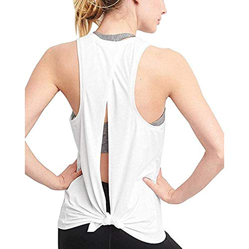 YinGTral Damen Sexy Open Back Sport Solid Yoga Shirts Krawatte Workout Racerback Tank Tops