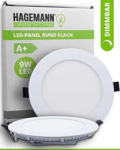 HAGEMANN® 1 x LED Panel rund dimmbar 9 Watt 810lm – Ø 135mm Bohrloch – 230V flache LED Spots