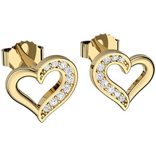 Herz Ohrringe Gold Stecker Damen Ohrstecker mit Zirkonia Silber 925 vergoldet GRATIS PREMIUM Etui Gravur