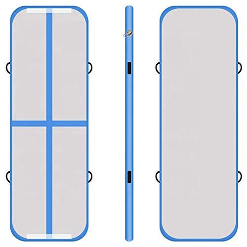 KKJKK 3 M / 4 M / 5 M Inflable Cayendo Gimnasia Estera Aire Suelo Estera Ejercicio Aptitud Física Estera con Eléctrico Aire Bomba por Casa Exterior Capacitación,Azul,300x100x20cm