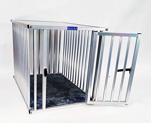 Callieway® ALU DOGBOX/Hundebox/ALU Hundkäfig für Büro und Daheim (nur vertikale Stäbe) (XLarge: 95cm (L), 66cm (B;Türseite), 70cm (H))