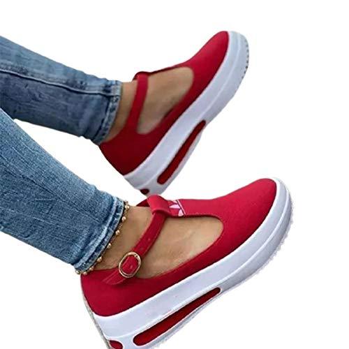 GBZLFH Zapatos De Plataforma con Correas De Tobillo para Mujer Sandalias con Primavera Mocasines Cuñas Casual Verano Sandalias Cerrados Cuña Tacon De Mujer para Caminar,Rojo,37