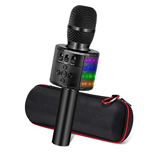 Ankuka Karaoke Mikrofon, Karaoke Anlage Kinder mit Kühles Licht, Drahtlose Mikrophon Bluetooth kompatibel Android/iOS, PC, Ideal Lautsprecher Maschine für Geburtstag Home Party