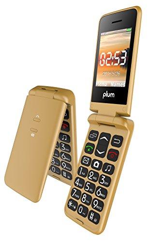 Plum Flipper - Unlocked GSM Flip Phone Big Screen Big Keypad FM Radio Camera Flash Light Tmobile MetroPCS Simple Mobile Straight Talk - Gold