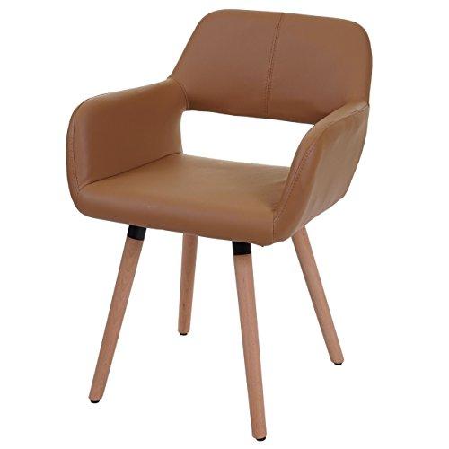 Chaise de Salle à Manger HWC-A50 II, Fauteuil, Design rétro des années 50 - Similicuir, Couleur Noix