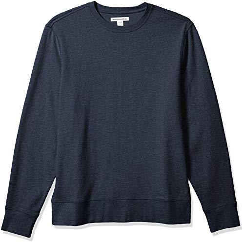 Amazon Essentials Men's Long-Sleeve Lightweight French Terry Crewneck Sweatshirt, Navy, Large
