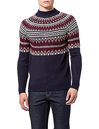 Marca Amazon - find. Jersey con Cuello Redondo Hombre, Multicolour (Navy / Red), XS, Label: XS