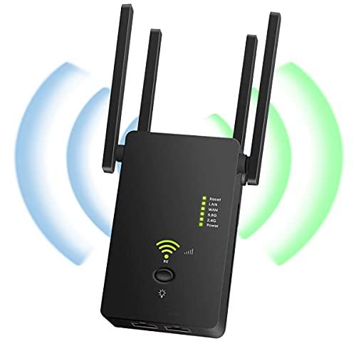 YingStar Repetidor WiFi Largo Alcance 1200Mbps Amplificador WiFi Señal Extensor Red WiFi 2.4GHz 5GHz Extender WiFi Inalámbrico 4 Antenas Externas Punto Acceso Repeater WiFi Booster Ap Enrutador WiFi