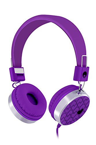 RockPapa Over Ear Love Hearts Headphones for Kids Boys Girls Childs Teens Adults, Noise Isolating, Adjustable Stereo Headphone for Surface iPod iPhone iPad mini iPad Air Tablets PC MP3 Purple
