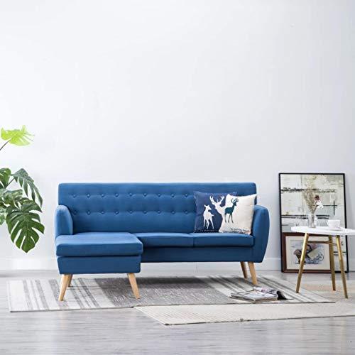 UnfadeMemory Sofá de 3 Plazas de Salon,Decoración de Hogar Habitación o Oficina,Estructura de MDF,con Botones,Tapizado de Tela (Azul-con Chaise Lounge-171,5x138x81,5cm)