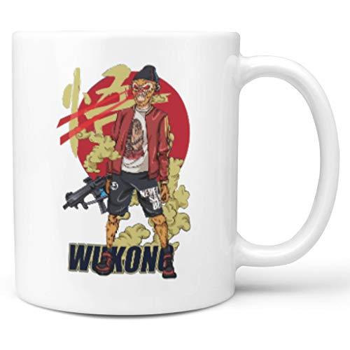 O2ECH-8 11 Unze Monk Sha Mischen Kakao Becher Tasse mit Griff Glatte Keramik Humor Becher - Die Reise in den Westen Mädchen Frauen, Geeignet für Wohnheim white2 330ml