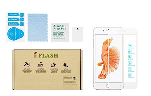 iPhone 7 Plus, iPhone 8 Plus Full Coverage Screen Protector, iFlash Full Cover Tempered Glass Screen Protector For Apple iPhone 7/8 Plus 5.5 Inch – edge-to-edge Curved Surface/Bubble Free -White