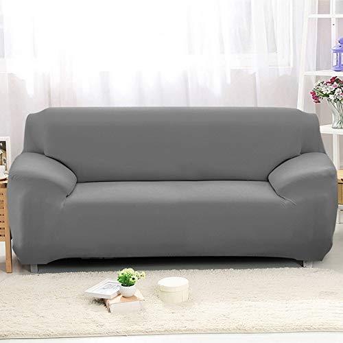 WYSTLDR Wohnzimmer einfarbige Stretch-Sofabezug, elastische Sofabezug, Haushaltsgegenstände L-förmiger Sesselbezug grau 3-Sitzer 195-230CM