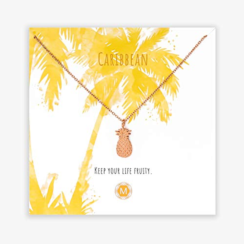 MURANDUM Geschenk Kette Caribbean | Pineapple Necklace | Damenhalskette mit Ananas Anhänger inklusive Geschenkkarte | verstellbar (Roségold)