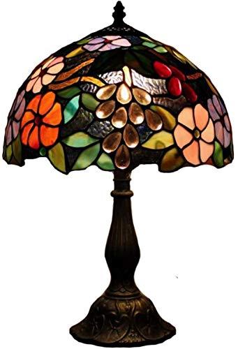 AWCVB Handgefertigte Glastischleuchte, E27 Tiffany-Art-Retro Warm Beleuchtung Nachtlicht Für Büro Schlafzimmer Nachttischlampe,Kupfer,48X30Cm (19X12Inch)