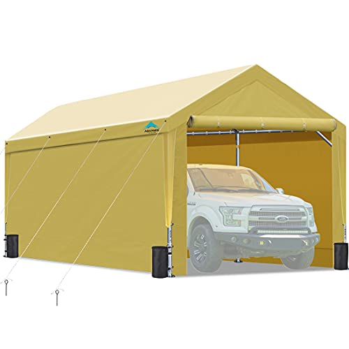 Upgraded 10x20 ft Heavy Duty Carport with Removable Sidewalls and Doors, Adjustable Height from 9.5 ft to 11 ft, Car Canopy Garage Party Tent Boat Shelter with 8 Reinforced Poles and 4 Sandbags, Beige