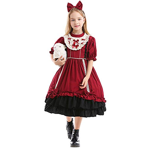 NIMIFOOL Disfraces para niños Vestido de Princesa española para niña de poliéster, Familia de Padres e Hijos, Adecuado para la Fiesta Escolar de Halloween,S