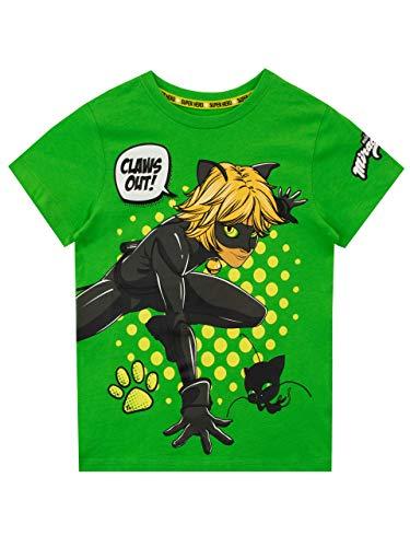 Miraculous Camiseta de Manga Corta para niños Cat Noir Verde 8-9 Años