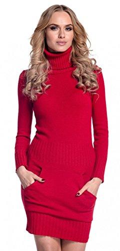 Glamour Empire. Damen Strickkleid Minikleid mit Stehkragen und Tasche vorne. 178 (Rot, 36-38, ONE Size)