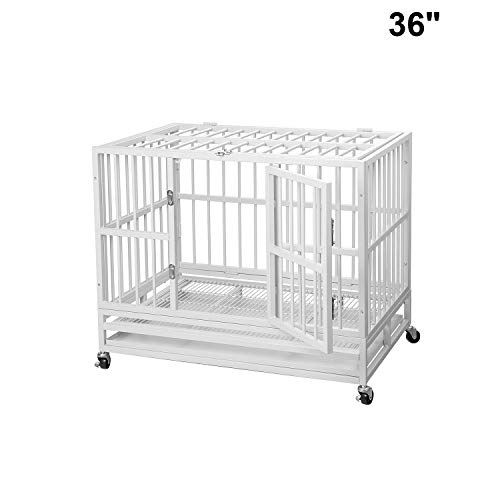 PUPZO Heavy Duty Dog Cage Crate Kennel Carbon Steel with Four Wheels for Large Dogs Easy to Install (36 INCH White) Basic Crates