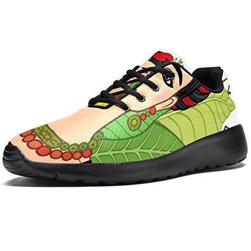 TIZORAX Sport-Laufschuhe für Frauen Frida Kahlo Young schöne mexikanische Frauen Mode Sneaker Mesh atmungsaktiv Walking Wandern Tennis Schuh, Mehrfarbig - mehrfarbig - Größe: 38 EU