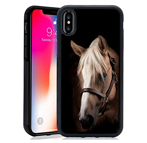 for iPhone Case - Horse Beautiful Horse Animal Case -Soft TPU+Luxury Tempered Mirror Protective iPhone Case (for iPhone XR)