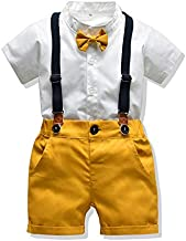 Moyikiss Studio Toddler Boys Clothes Short Sleeve Bowtie Shirt+Straps Shorts Outfits Suits Gentleman Tuxedos (Yellow, 110/3Y-4Y)