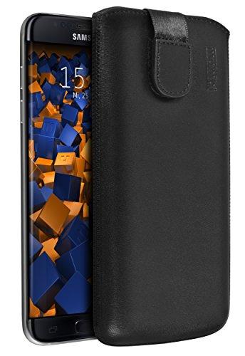 Mumbi Echt leren hoesje compatibel met Samsung Galaxy A3 2016 hoesje lederen tas case wallet zwart, lederen case klap handtas cover, Galaxy S7 Edge, zwart