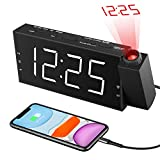 Alarm Clock with Projection on Ceiling,Projection Alarm Clock for bedrooms,Digital Clock with Dual Alarm,Large LED Display Clock with USB Charger,3 Dimmer,Snooze,12/24H DST,Loud Alarm Clock for Kids