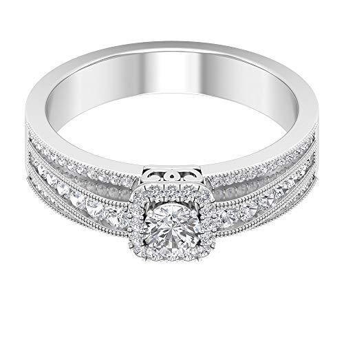 Anello di fidanzamento con solitario in moissanite certificata da 0,77 ct, minimalista con perline incise, anello da donna con pietra laterale, colore chiaro, 14K Oro bianco, Moissanite, Size:EU 49