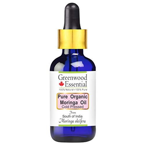 Huile de moringa (Moringa oleifera) organique pure de Greenwood Essential avec compte-gouttes en verre 100% naturel, qualité thérapeutique, pressé à froid 30ml (1,01 oz)
