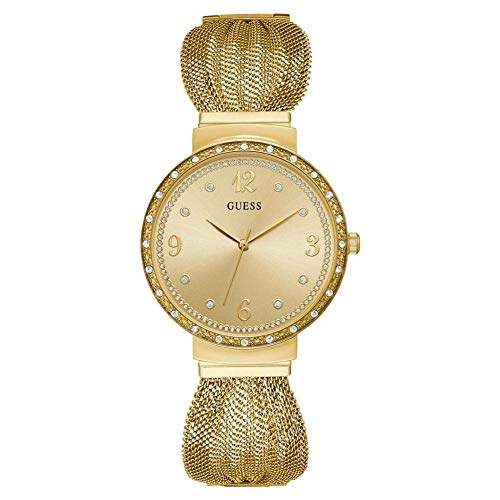 Guess Damen Analog Uhr Chiffon mit Edelstahl Armband