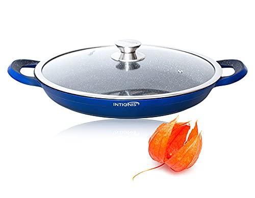 Paellera con Tapa - 36cm - Esencial de Cocina para Saltear, Asar a la Parrilla - Recubrimiento Antiadherente Derivado de la Piedra, Base de Acero Inoxidable, Apto para Horno (Blue)
