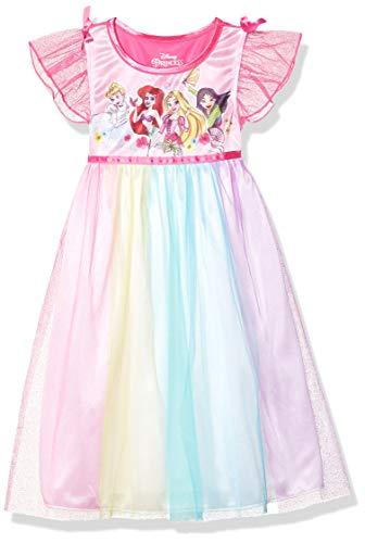 Disney Girls' Toddler Fantasy Nightgown, Multi-Princess - Rainbow, 4T