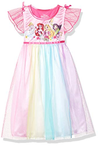 Disney Girls' Toddler Fantasy Nightgown, Multi-Princess - Rainbow, 2T