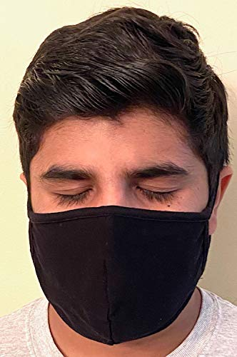 Made in USA Fashion Protective 2 Ply Face Mask Unisex Washable Cotton Mask Hand Made… (Black)