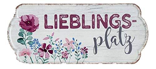 G.H. Vintage Retro Blechschild, Modell, LIEBLINGSPLATZ, Material Metall, Maße 35 x 15 cm, Weiss, rot, ideal für Garten, Terrasse, Bar, Cafe, Cafeteria oder einfach Zuhause.