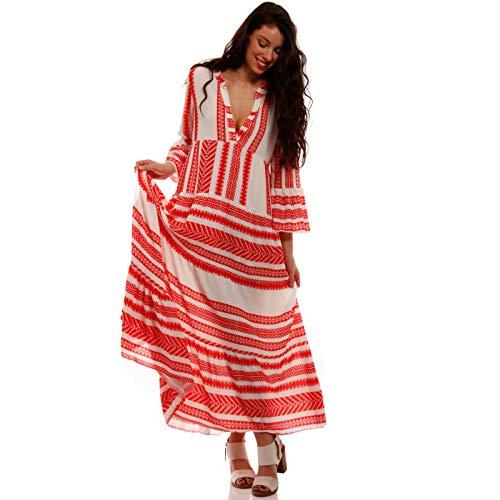YC Fashion & Style Damen Boho Maxikleid Strandkleid Freizeit Sommer Party Kleid Hippie Kleid Plus Size Made in Italy (One Size, Rot/Creme)