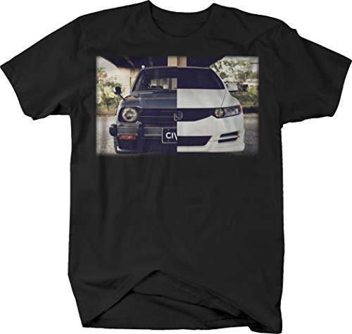 Price comparison product image Import Racecar Civic Retro Modern Before After Tshirt - Medium Dark Heather Gray