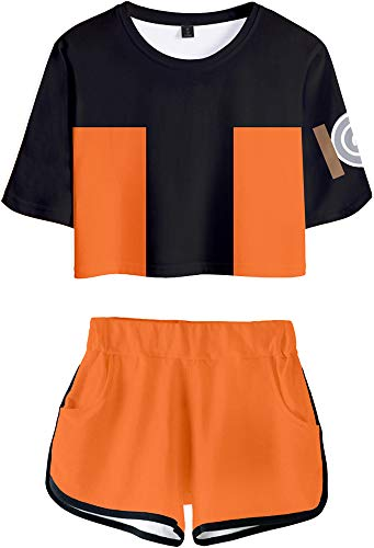 Roffatide Anime Naruto Printed Crop Top Shorts 2 Piece Set Women Casual Wear Outfit M