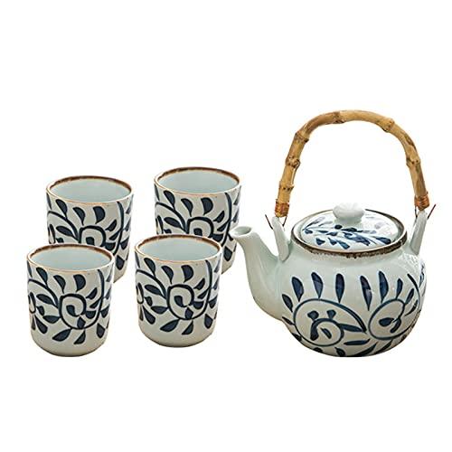 HGFDSA Juego de vajilla de cerámica para habitación de hogar de 6 Piezas, Juego de Taza de Tetera de Estilo japonés Retro, Recuerdos de la Infancia, Suministros de Cocina para el Restaurante en casa