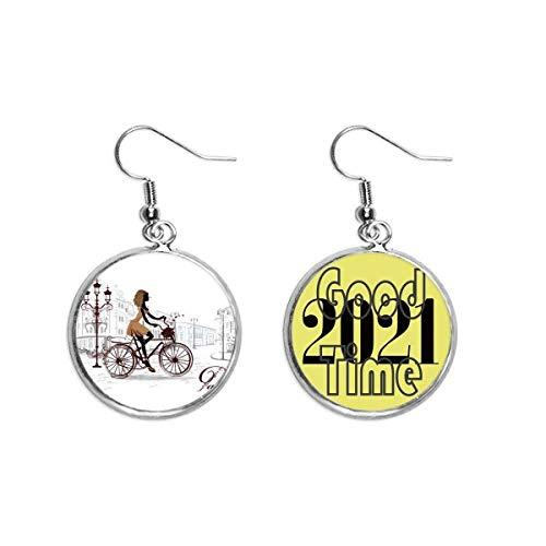 Ohrringe mit Fahrrad-Dame Frankreich Illustration Muster Ohrringe Ohranhänger Schmuck 2021 Viel Glück