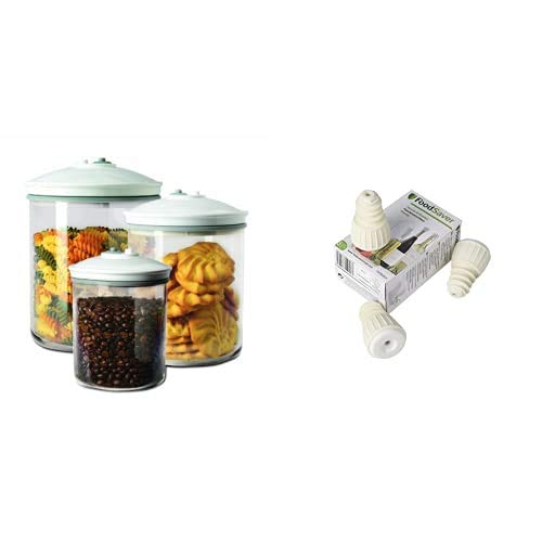 Foodsaver FSC003-I-065 Set de 3 tarros de envasado al vacío + FSFSBS0024-050 Tapón sellado al vacío para botellas (paquete de 3)